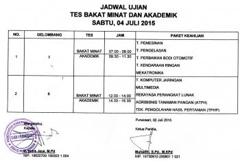 Berita Jadwal Tes Minat dan Bakat PPDB 2015 SMK Negeri 1 Purwosari