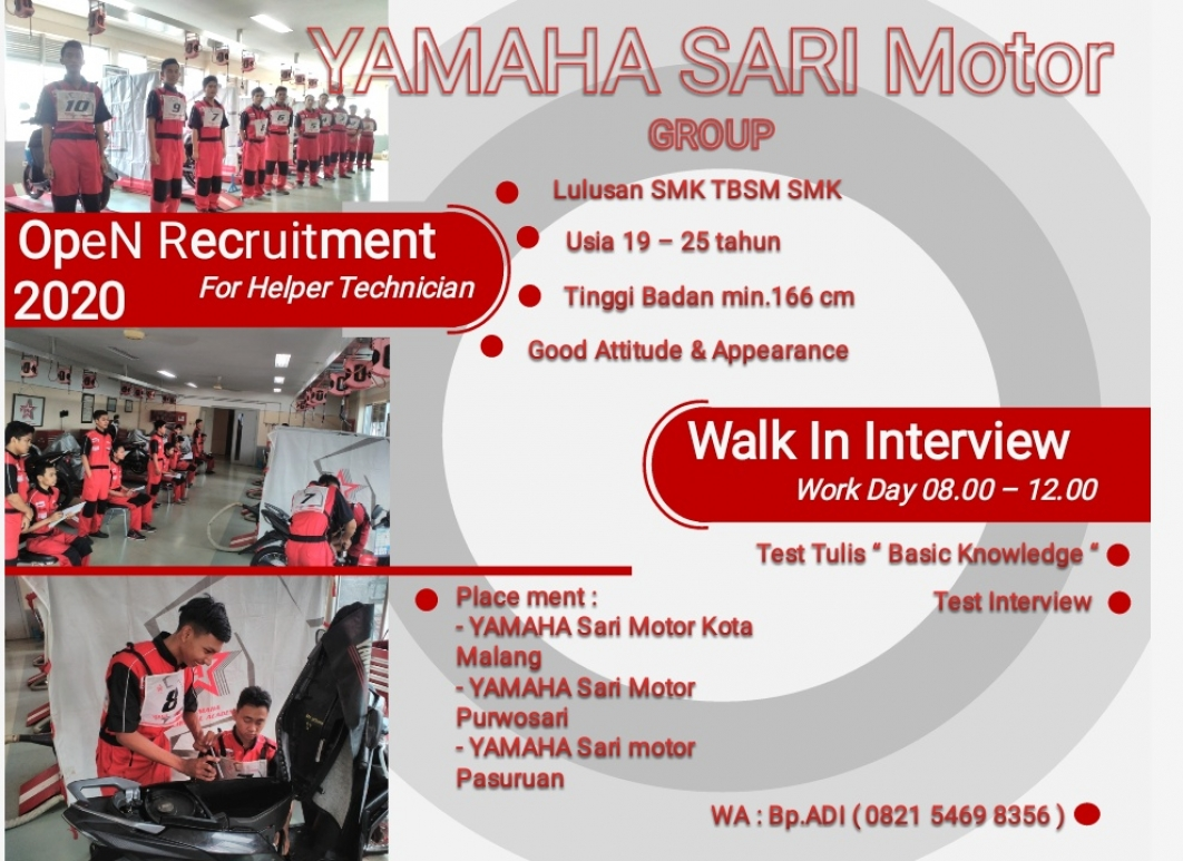 OPEN RECRUITMENT For Helper Technician